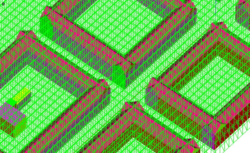 Figure C: Cartesian cut cell grid for a simplified representation of a part of the Eisenbahnstraße.