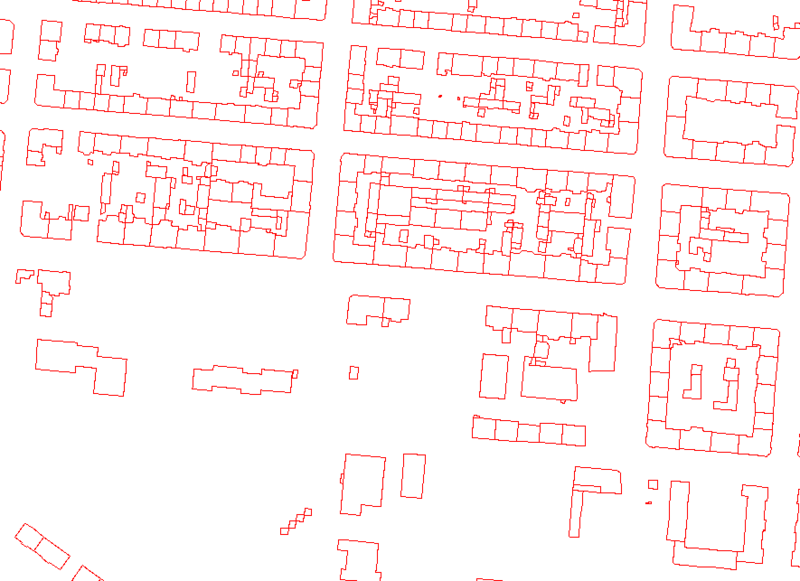 Figure D: Floor plan of the Eisenbahnstraße in the City of Leipzig from a two dimensional shape file.
